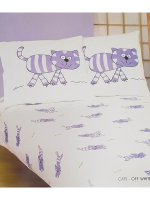 Baby Flannel Bed Sheet Set - Cats - 100% cotton flannel set