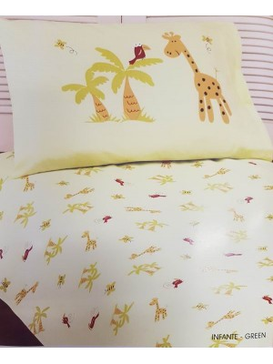 Baby Flannel Bed Sheet Set - Giraffe - 100% cotton flannel set
