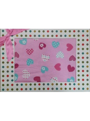 Baby Flannel (winter) Bed Sheets Set in a Box - for Cot Bed (Hearts)