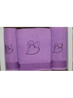 3 Piece Bath Towel Set with embrodery - Design Heart