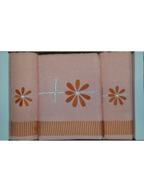 3 Piece Bath Towel Set with embrodery - Design Star