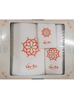 3 PCS Bath Towel Set - 450gsm With Embroidery - Valerio Monti