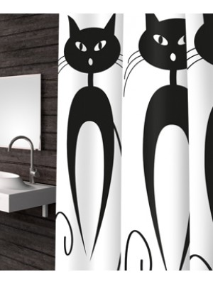 Shower Curtain Size: 180 X 200cm - Art: Cats