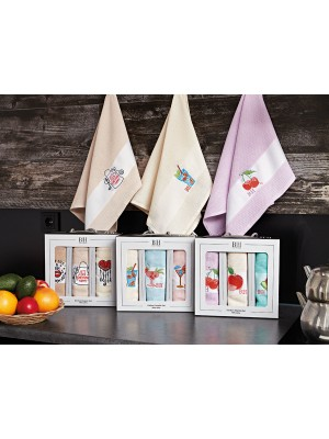 Kitchen Towel Set with Embroidery in a box - 3pcs set