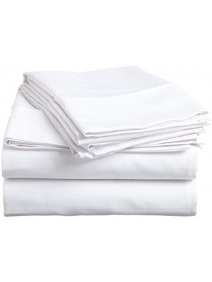 Flat White Bed Sheet Set 100% Egyptian Cotton 240TC - Excellent Quality