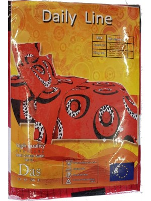 300 TC 100% Cotton High Quality Bed Sheet Set - All Seasons - Art Red Wite Circles