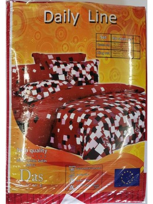 300 TC 100% Cotton High Quality Bed Sheet Set - All Seasons - Art Red Wite Squares