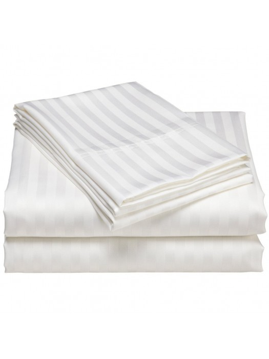Bed Sheets Set 100% Egyptian Cotton Satin- Dobby - King Size