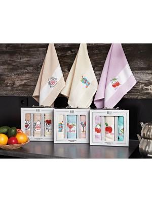 Kitchen Towel Set with Embroidery - 3pcs set art: 8286
