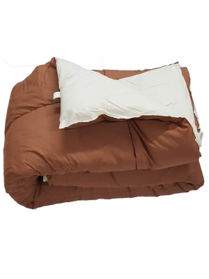Double Face Quilt Brown/Cream 400gsm - Select color and size
