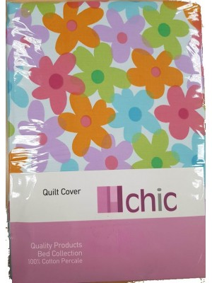 Quilt Cover With Pillowcases - Double Sided Cover: Design/Plain - art: Spring - Select Color For Back Side