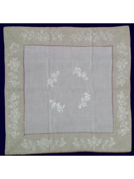 Table Cloth Linen with Border and Embroidery 160cm X 230cm - art 343 - Select Size