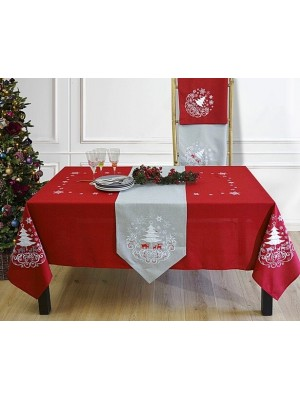 Christmas Table Cloth - Embroidery Design - 160X260cm Select Color