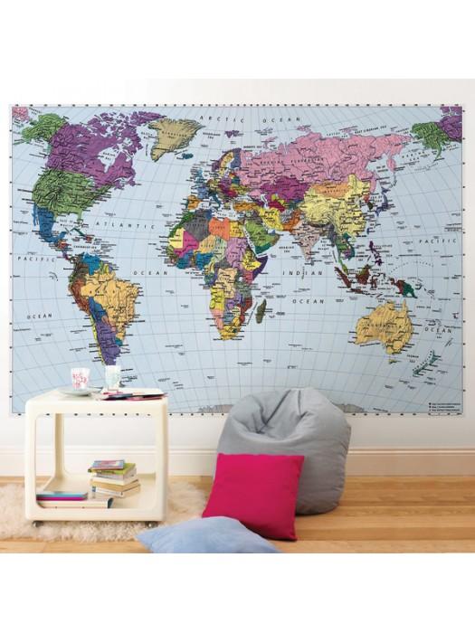 Wallpaper - World Map: 270 X 188cm